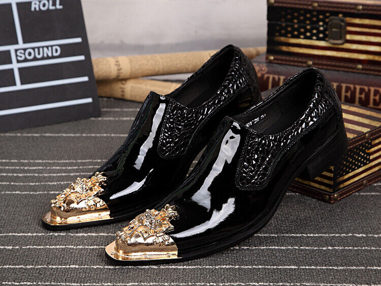 Men Pumps Slip On Real Leather Metal Pointy Toe Formal Dress Business Flat shoes
