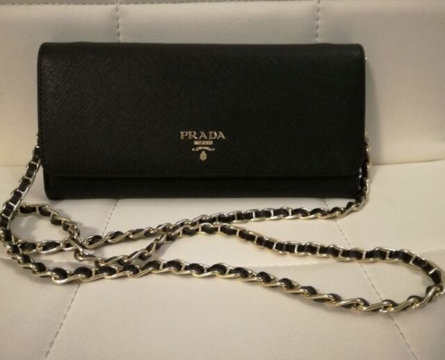 f8951f4c380f PRADA LONG WALLET WOMEN'S CHAIN SHOULDER BAG BLACK SAFFIANO LEATHER 1M1290