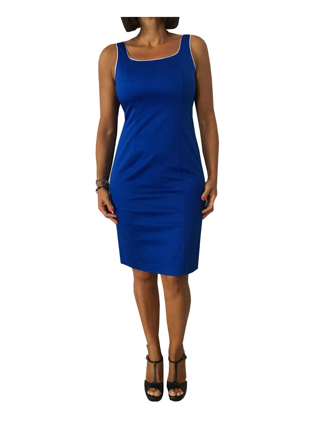 CALALUNA Kleid Frau Reißverschluss hinter KornBlaumenblau mit Profile weiß