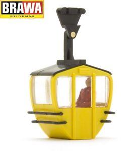 Brawa-H0-6279-Seilbahn-Kabine-einzeln-gelb-mit-Figur-NEU-OVP