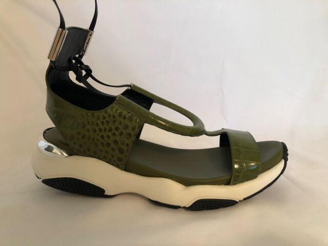 e8aff62eb86 Salvatore Ferragamo Gotham Calf Leather Green Platform Sandal Sz. 9m ...
