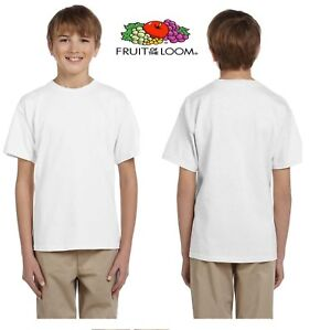 Boys Girls Kids FRUIT OF THE LOOM Plain White T-Shirt Cotton School PE Ages 1-15