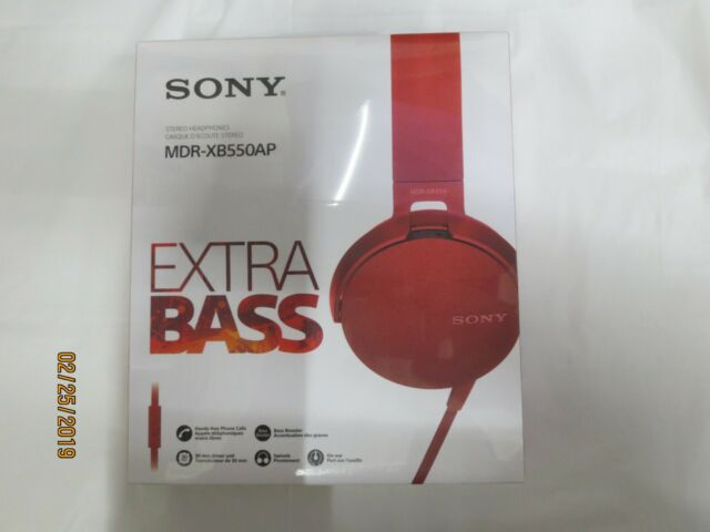 Sony Wired Extra Bass Red On Ear Headphones MDR-XB550AP **NEW FACTORY SEALED**