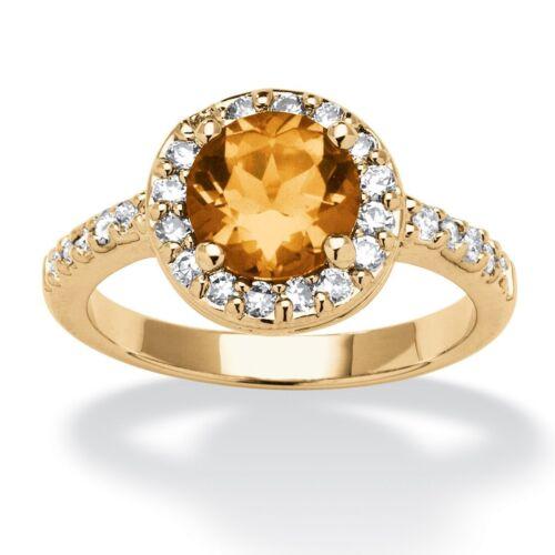 WOMEN YELLOW GOLD CZ CITRINE NOVEMBER BIRTHSTONE RING SIZE 5 6 7 8 9 10