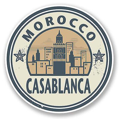 2 x 10cm Morocco Casablanca Vinyl Sticker Luggage Travel Suitcase Tag Gift #5720