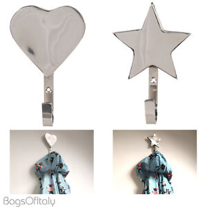 Stylish-Silver-Metal-Wall-Hangers-Coat-Hooks-2-Styles-Stars-And-Hearts
