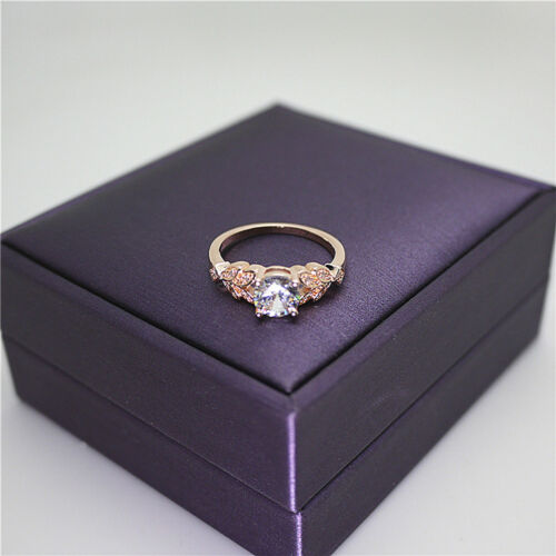 Women Ladies Crystal Rhinestone Inlaid Rose Gold Flower Hollow Ring Jewelry Z