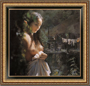 Hand-painted-Original-Oil-painting-art-Impressionism-nude-girl-on-Canvas-30-034-X30-034