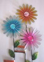 Metal Flower 3 Lovely Garden Stakes (blue,orange,pink) 21.5 X 6 Brand