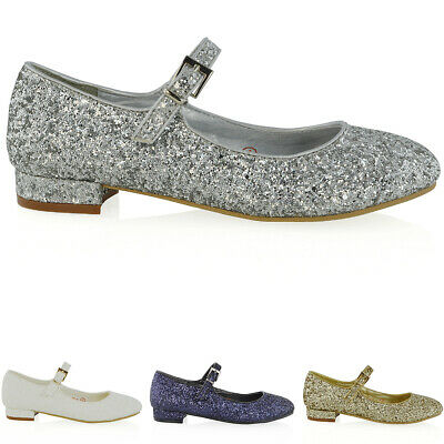 Linea Donna Scarpe Mary Jane Da Sposa Donna Tacco Basso Pompe Glitter Scarpe Da Sera Taglia 3-8-mostra Il Titolo Originale Smoothing Circulation And Stopping Pains