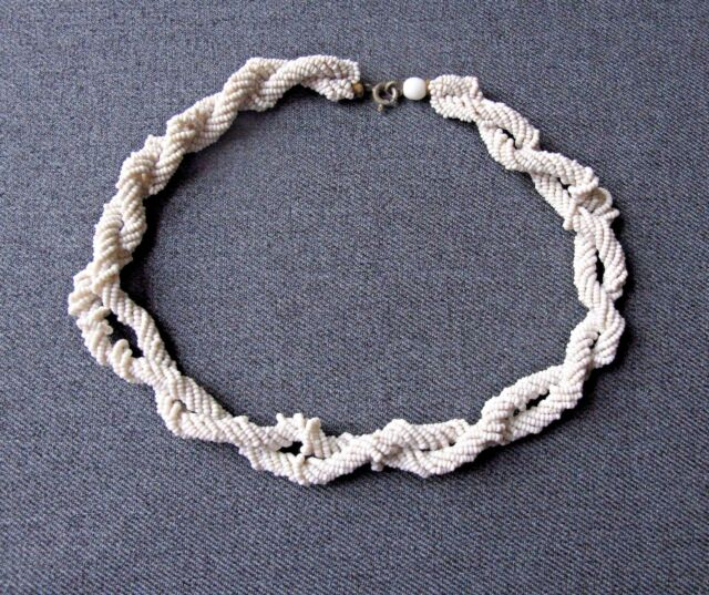 Antique woven white micro beaded choker necklace needs TLC  jewelry making