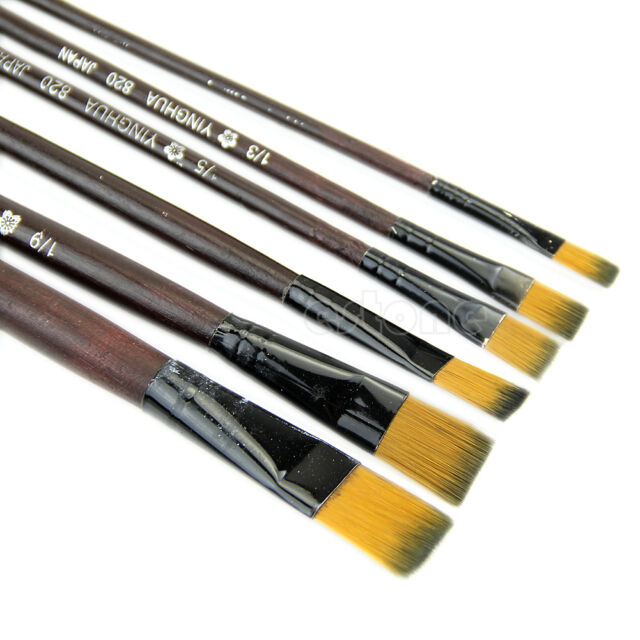 New 6 Brown Tip Nylon Paint Brushes For Art Artist Supplies