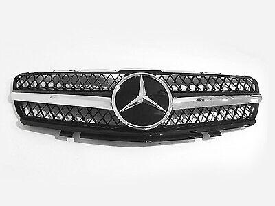 Mesh Front Hood Sport Black Grill Grille For Mercedes Benz R230 SL 06-08