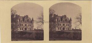 Chateau-Da-Chenonceaux-Francia-Foto-Stereo-Vintage-Albumina-Ca-1860