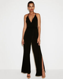 EXPRESS Large BLACK BELTED OPEN LEG PANTS JUMPSUIT sleeveless v-neck ... f3d664280