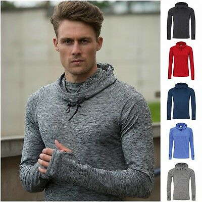Mens Cowl Neck Long Sleeve Hoodie Running Training Sports Hooded Top Thumb Holes Clothing & Accessories