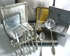 Belle ménagère 98 pièces, métal argenté, Ercuis, modèle Art Déco.