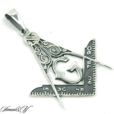 925 Sterling Silver Antiqued Masonic Charm