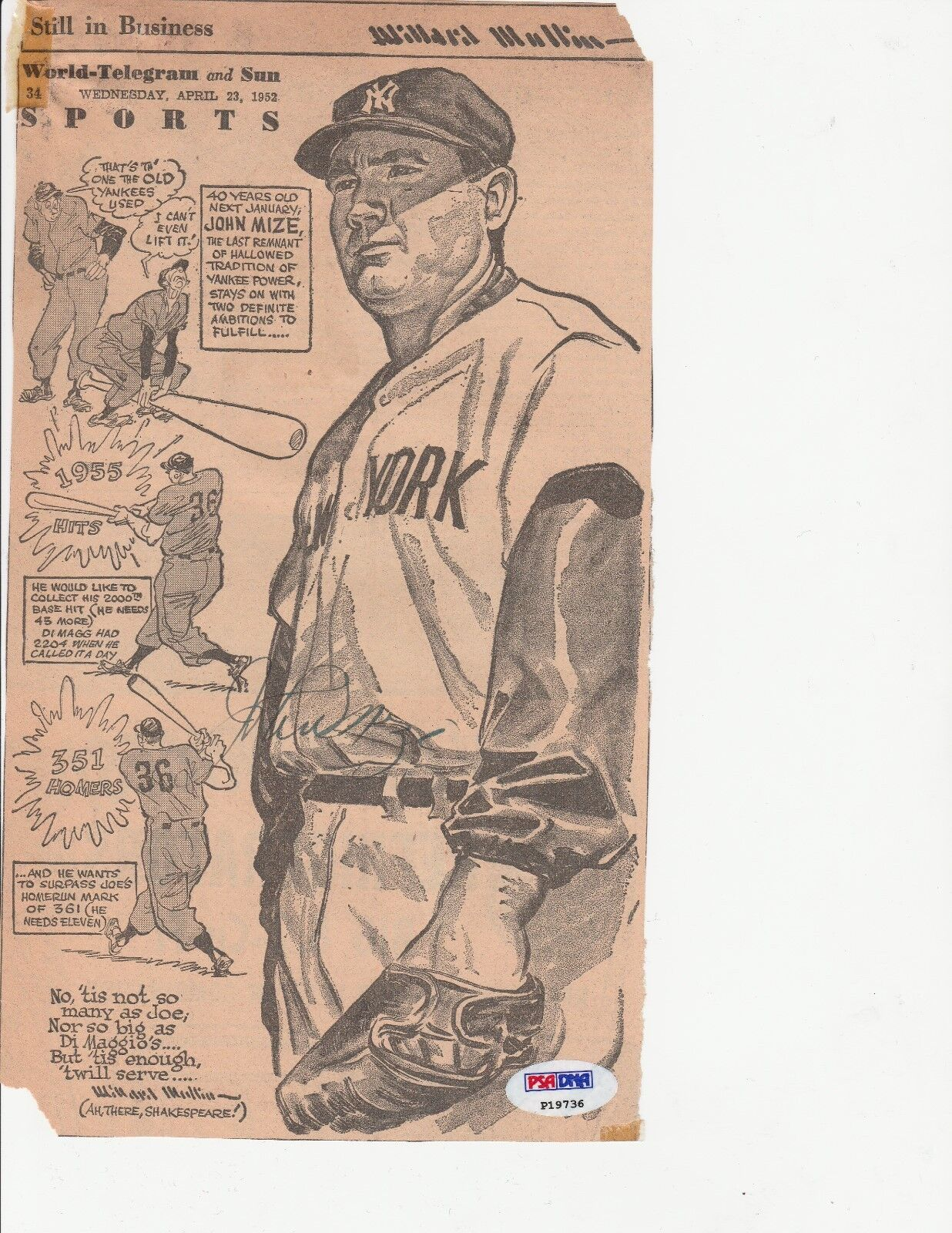 Johnny Mize Signed Vintage New York Yankees Baseball Magazine Cut PSA P19736