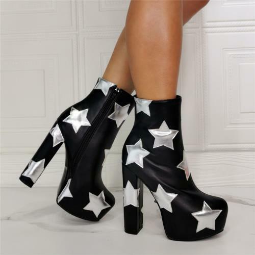 Details about  / Punk Women Round Toe Block High Heel Platform Side Zip Ankle Boots 45 46 47 L