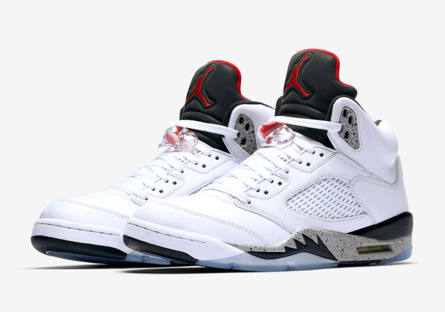 881cdc384458 Nike Air Jordan 5 V Retro White Cement Tech Grey Red Black 136027-104 9