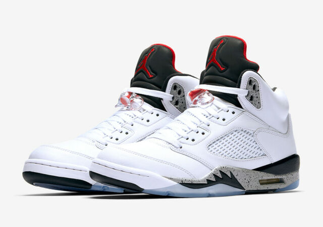 detailed look e1f93 536d9 Air Jordan Retro 5 V Cement White Black Red Mens Size 12 Basketball Shoes