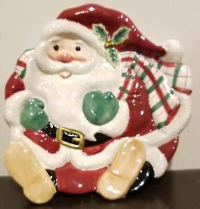 Retired Fitz and Floyd Plaid Christmas Santa Claus Canape/Cookie Plate w/Box