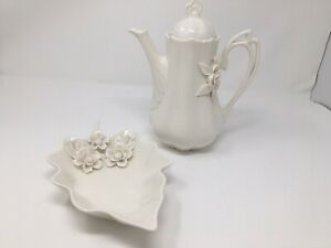 GRACE-039-S-TEAWARE-WHITE-TEAPOT-amp-Cookie-Dish-RAISED-FLORAL-6-Cps-Mother-039-sDay