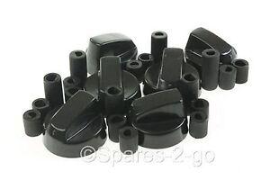 6 x Stoves Belling Ariston Cooker Oven Hob BLACK CONTROL KNOBS /& ADAPTORS