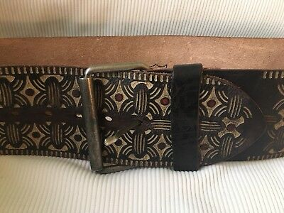 HTC Hollywood Trading Company Wide Leather Moroccan Tooled Leather BELT 32   eBay