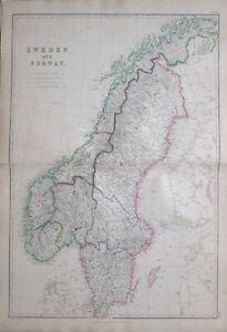 1864 Hand- Farbig Landkarte Schweden & Norwegen Gottland Christiansand Lofoten