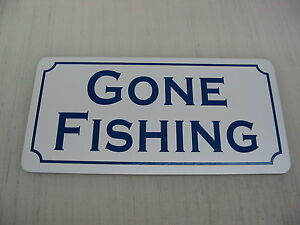 Vintage GONE FISHING Metal Sign for golf course country ...