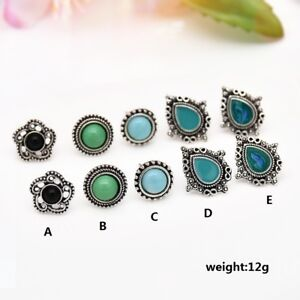 5Pair-Pack-Ladies-Vintage-Turquoise-Ear-Stud-Earrings-Boho-Style-Jewelry-Gift