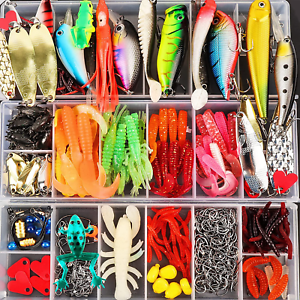 375 PCS Set Fishing Tackle Box Full Loaded Accessories Hooks Lures Baits Hooks