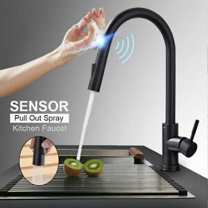 Smart-Sensor-Kitchen-Sink-Swivel-Faucet-Pull-Out-Mixer-Touch-Control-Tap-Black