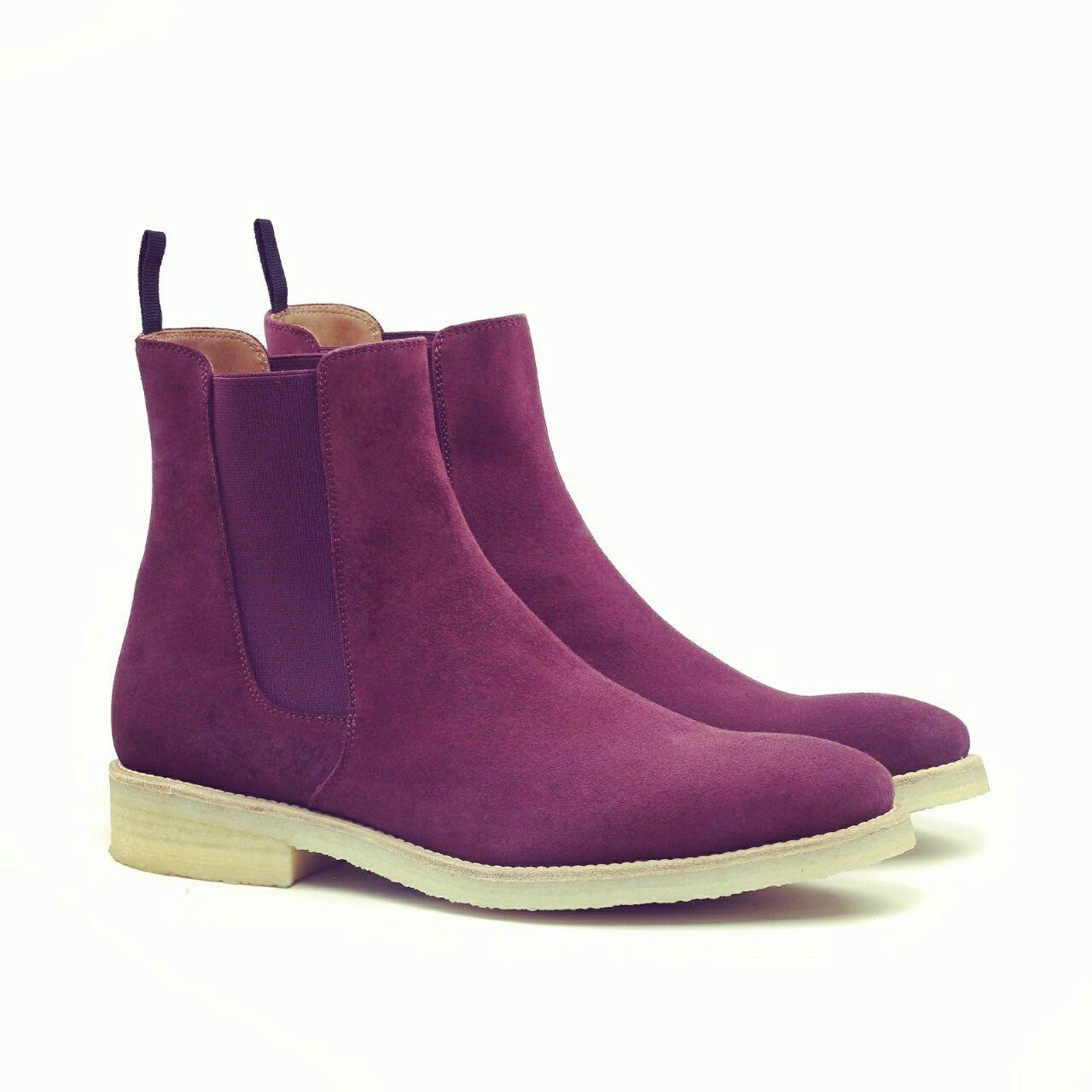 hombres Fatto A Mano Pelle zapatos púrpura Alto Caviglia Pulsante botas IT
