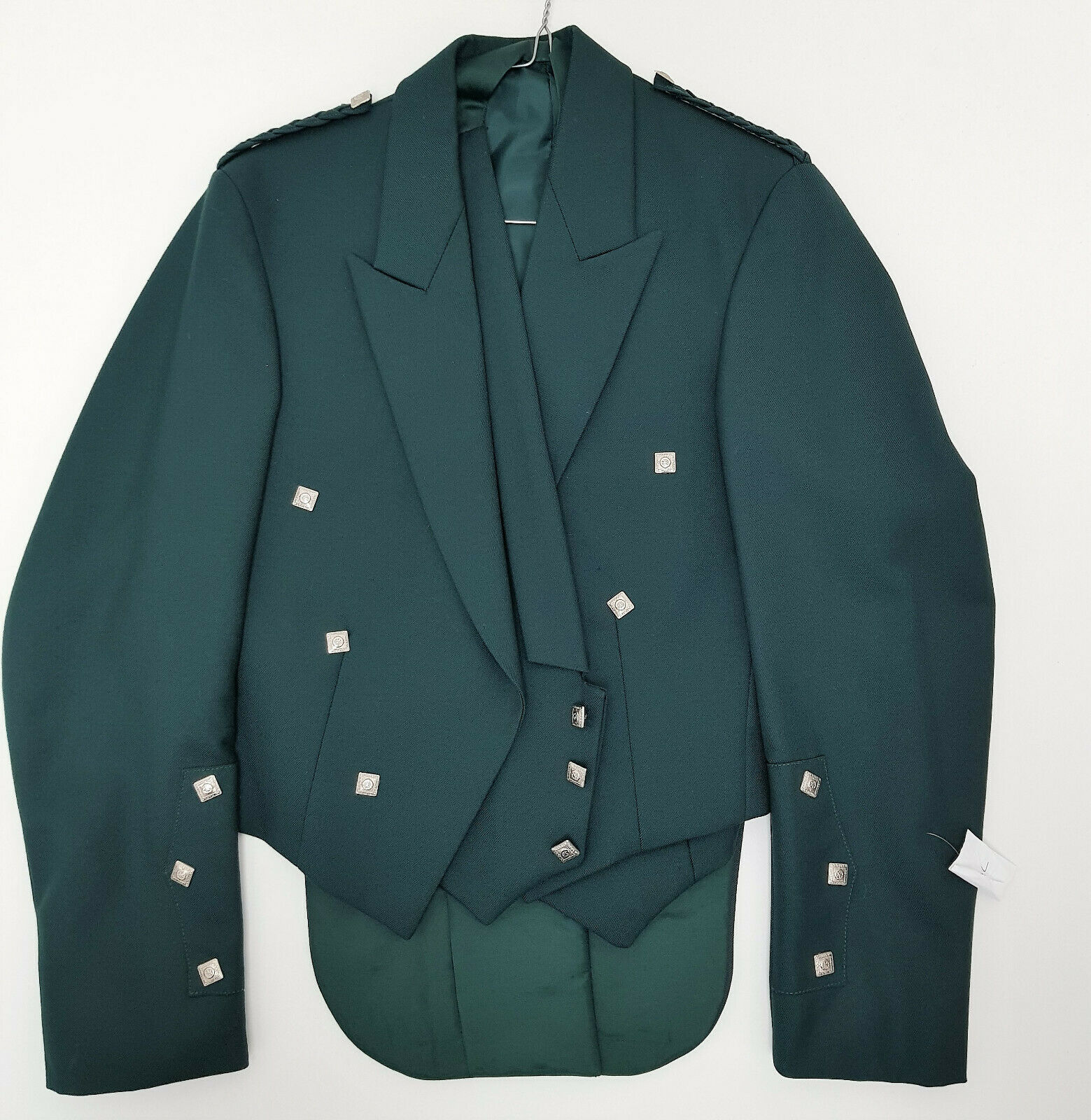 Ex Hire Green Prince Charlie Jacket & Vest Scottish Made reduced to to clear