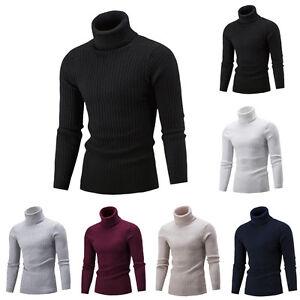Men-Slim-Warm-Knit-Sweater-High-Neck-Jumper-Top-Turtleneck-Solid-Winter-Pullover