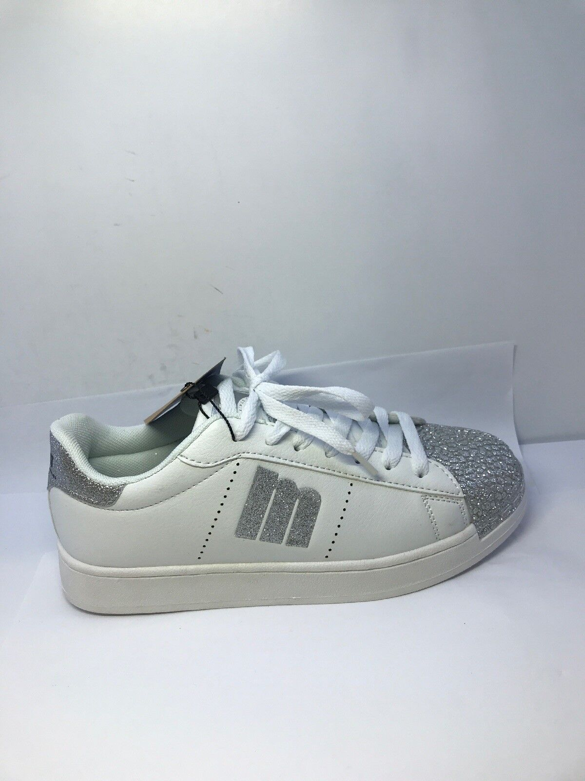 Mtng Womens Silver Embellished White Trainers Eur 37