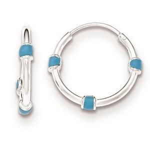 12660bc72 Image is loading Sterling-Silver-Polished-Light-Blue-Enamel-Hoop-Earrings-