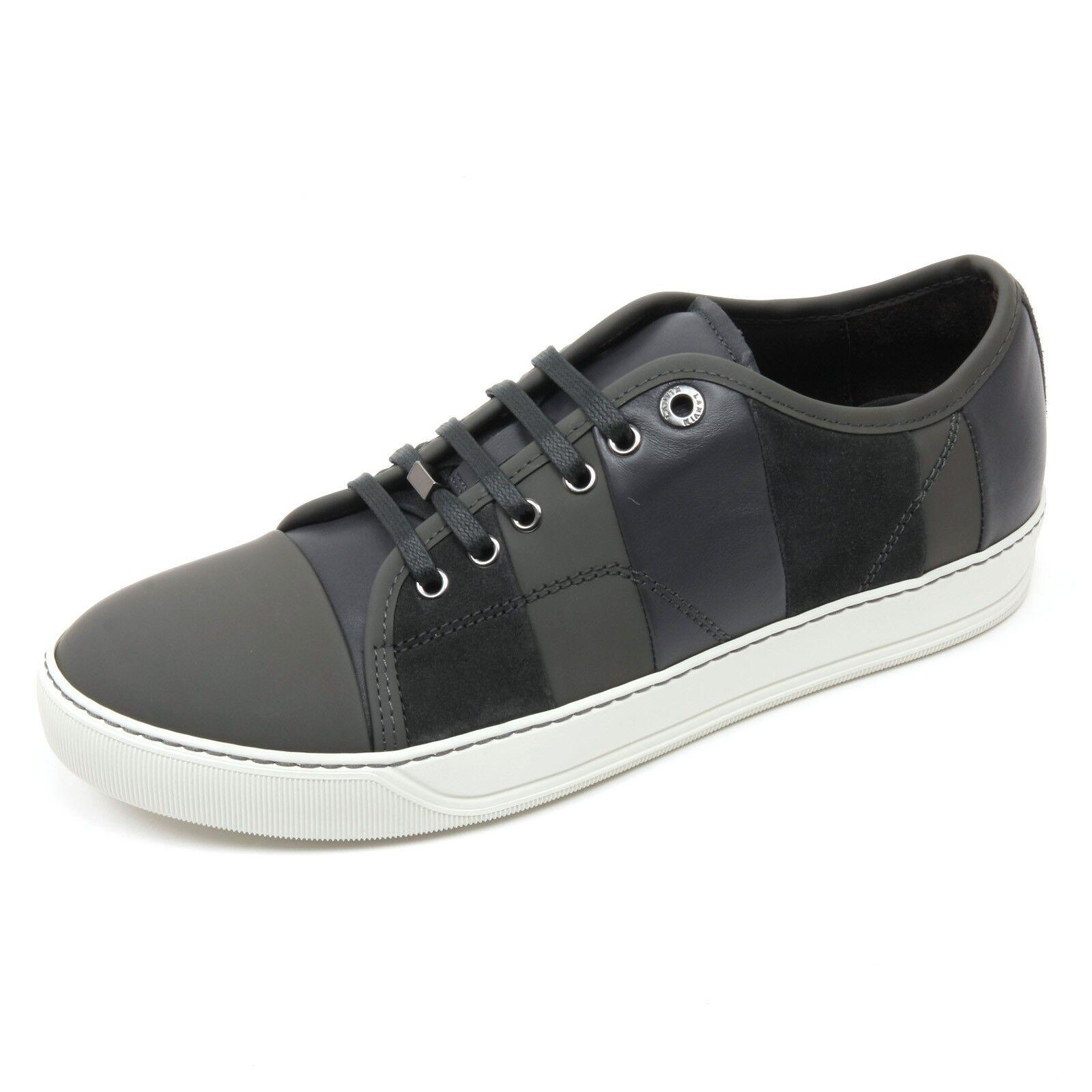 C2874 sneaker uomo LANVIN VEGO scarpa grigio scuro multi stripes shoe man