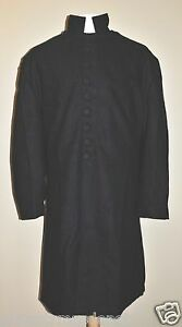Chaplains Frock Coat - Black Wool w/Covered Buttons - Sizes 52-60 - Civil War