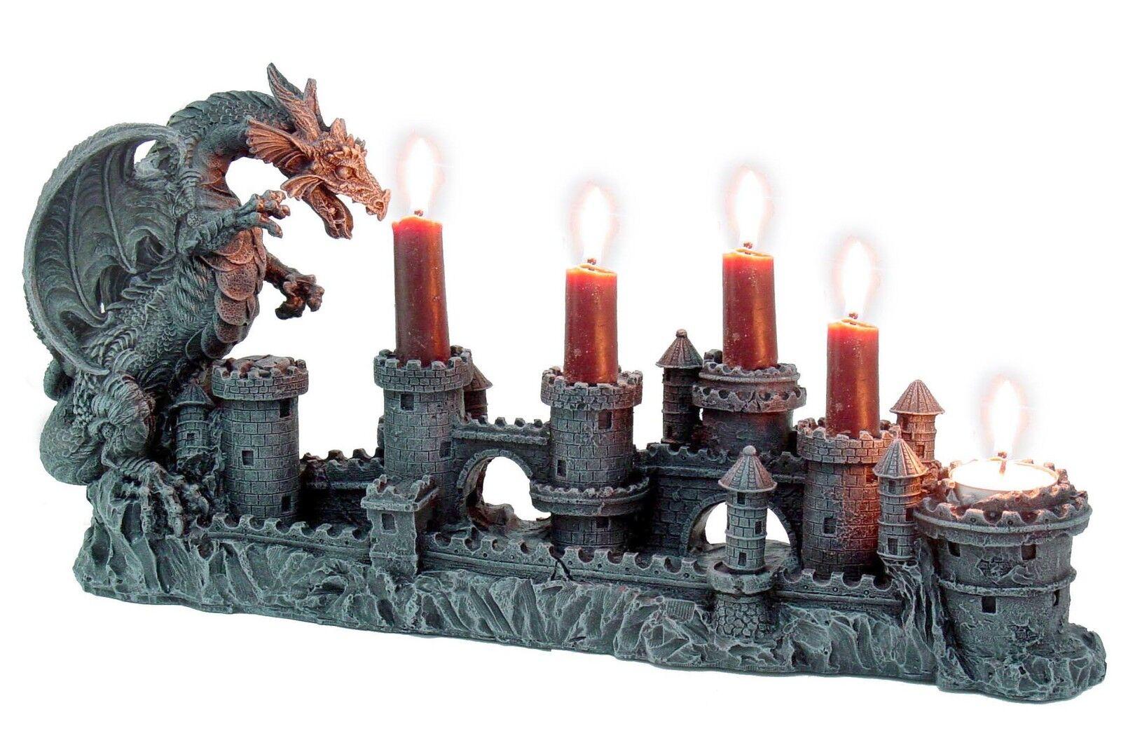 Drachen Kerzenhalter Dragon Kerzenständer Teelichthalter Gothic Drache 766-3675