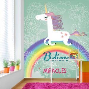 Details zu Einhorn Fototapete An Wunder glauben Tapete Mädchenzimmer  Kinderzimmer Dekor