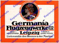 orig. Reklame Germania Flugzeugwerke Leipzig-Mockau Luftschiffhafen LEFAG 1917