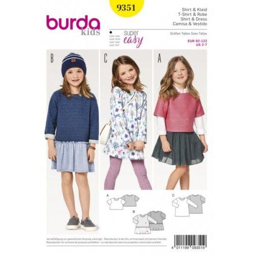 Burda Niños Niñas de Crop Tops túnicas y vestidos de patrón de costura 9351