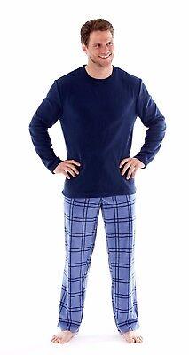 Harvey James Mens Fleece Pyjama Set Blue Or Charcoal Soft Checked Nightwear