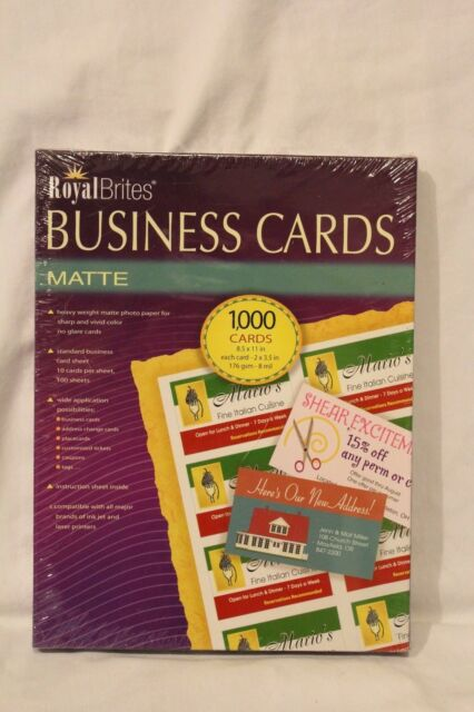 Z2c Royal Brites 1000 Matte Business Cards Printer Paper Ink Jet