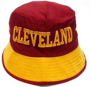 80c194c0e Cleveland Cavaliers Red Bucket Golf Fishing Sun Hat Cap Embroidered ...