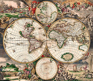 Antique World Map Old Vintage Map Fade Resistant HD Print Or - Antique world map picture